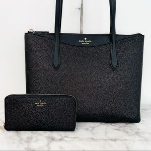Kate Spade Shimmy Glitter Large Tote & Large Continental Wallet